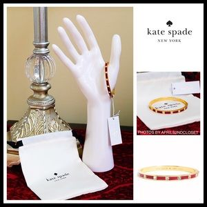 KATE SPADE PAVE BEZEL SET CRYSTAL RUBY RED BANGLE